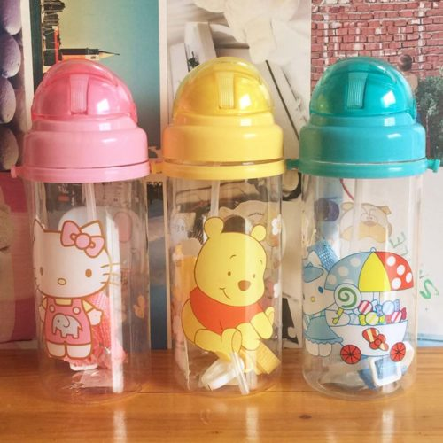 Cartoon Water Bottle With Straw