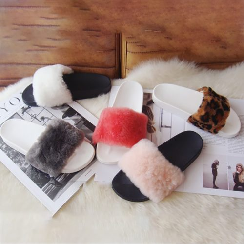 Faux Fur Slippers Women's Footwear