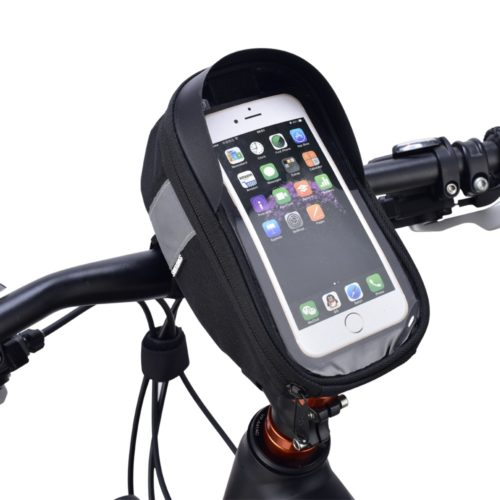 "Bicycle Handlebar Bag 6.5"" Phone Holder"