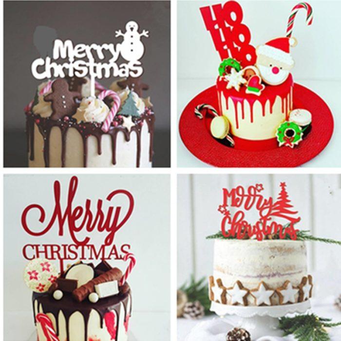 Christmas Cake Topper Acrylic Decoration