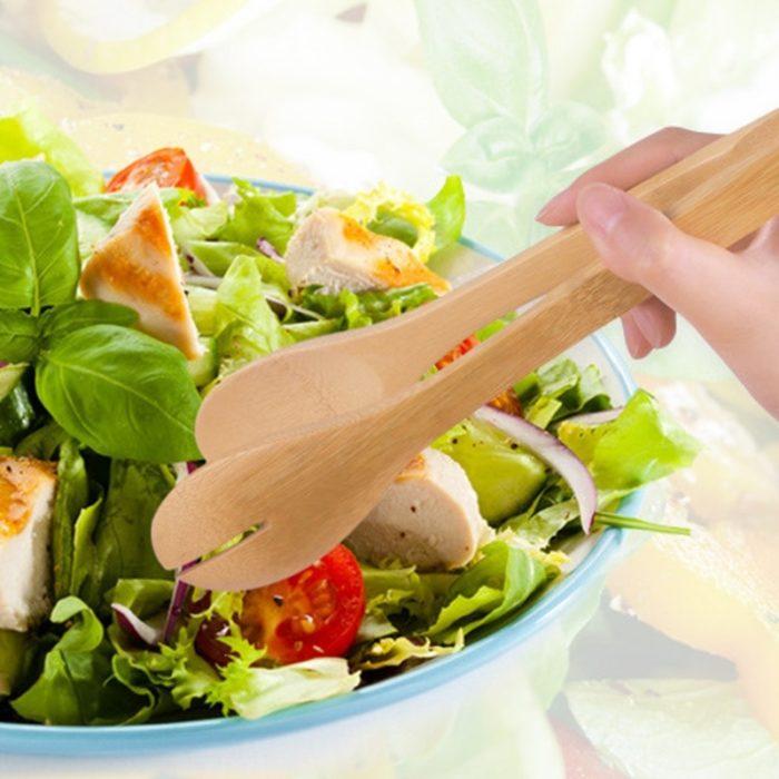 Salad Tongs Wooden Kitchen Utensil