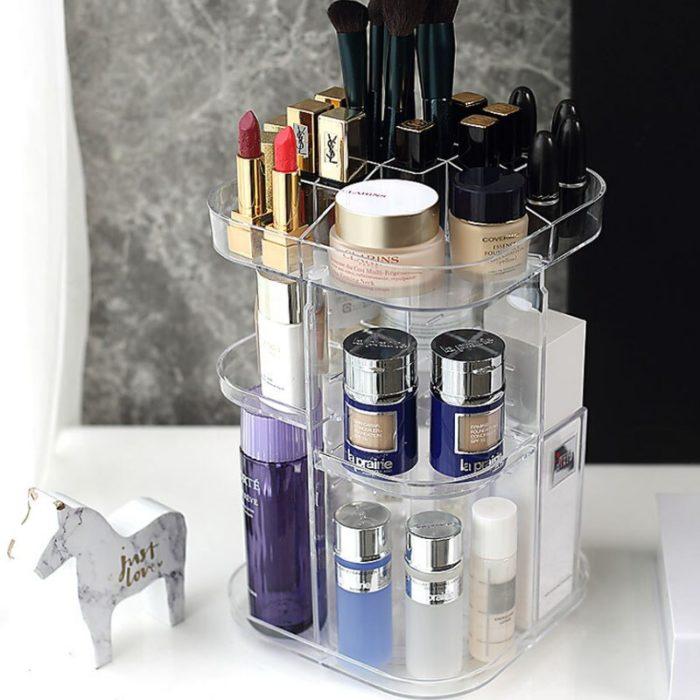 Acrylic Makeup Storage Rotating Organizer