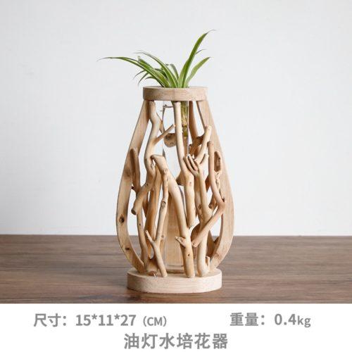 Wooden Flower Vase Flower Pot Decor