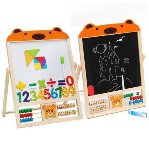 Kids Chalkboard Wooden Easel Stand