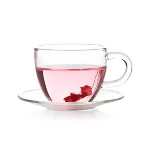Glass Tea Cup with Glass Saucer