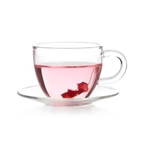 Glass Tea Cup with Glass Saucer