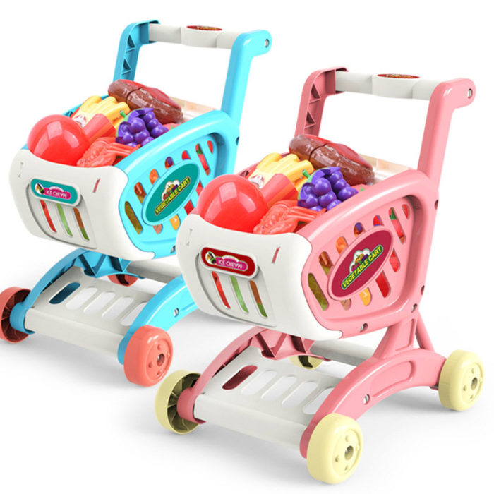 Toy Shopping Cart with Toy Groceries