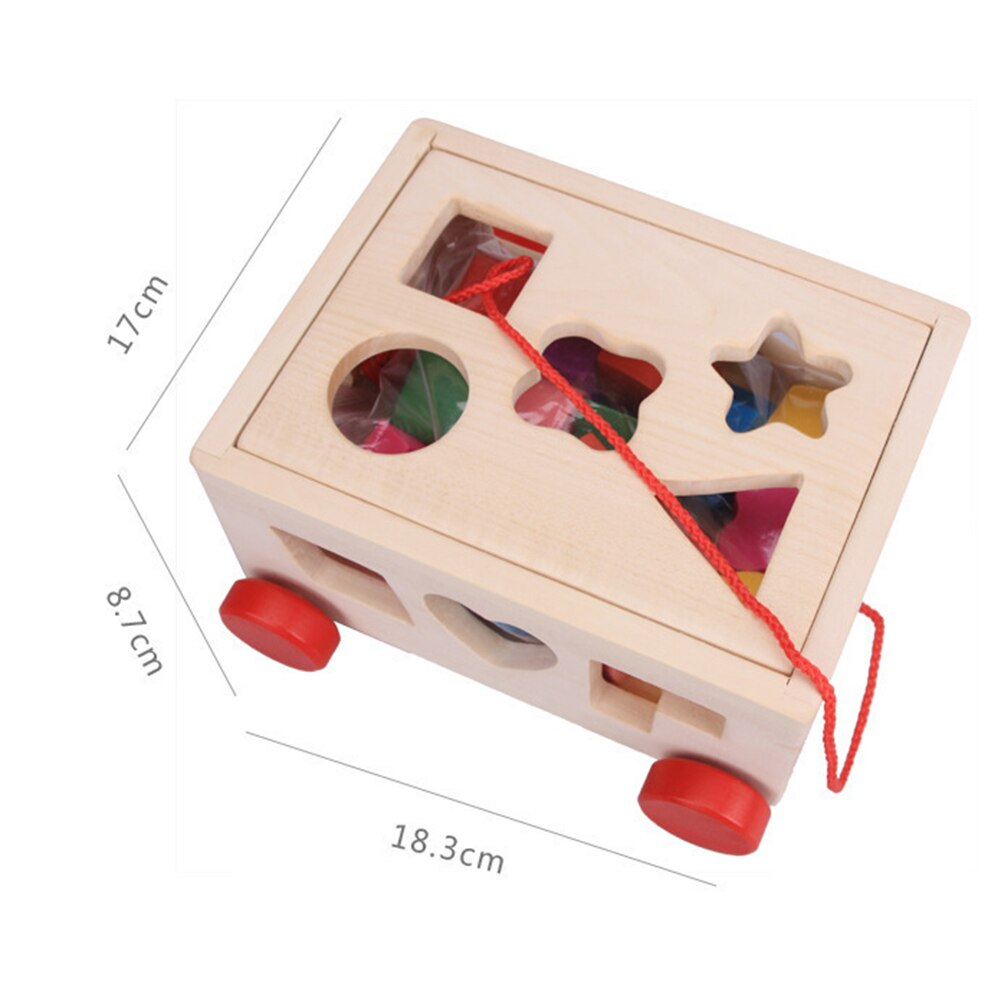 Wooden Pull Along Car Shape Sorter Early Education Toy 15 Holes Sorter W