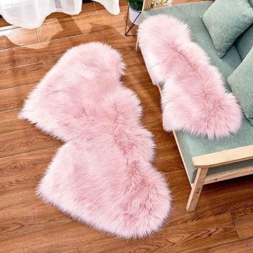 Faux Fur Carpet Heart Shaped Rug