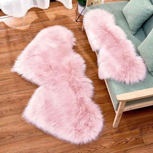 Faux Fur Carpet Heart Shaped Rug
