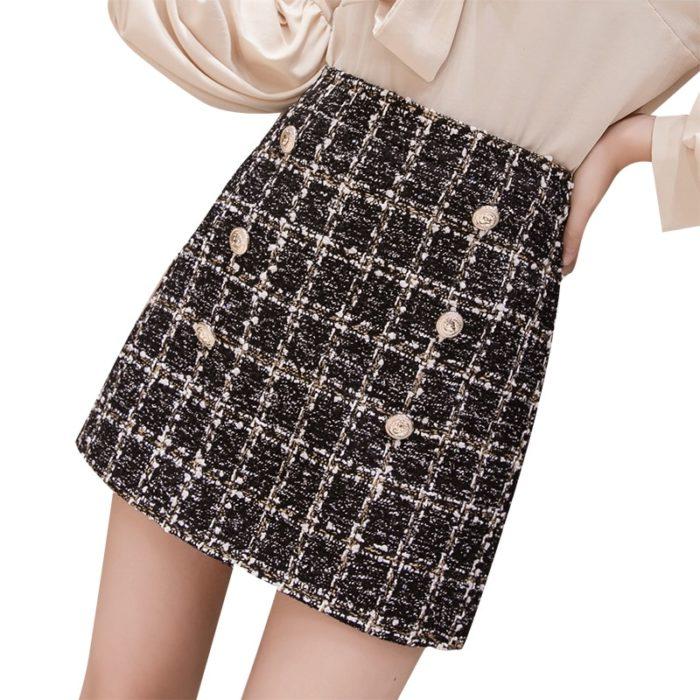 Plaid Skirt High-Waisted Clothing Wear