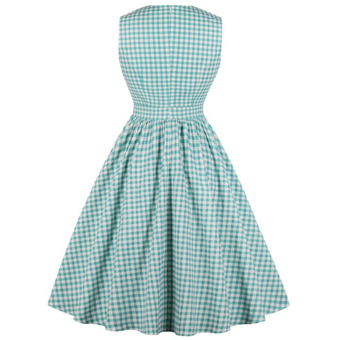 Retro Style Dress Plaid Midi Dress