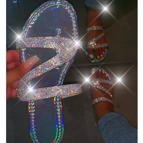 Rhinestone Flat Sandals Slip-On Footwear