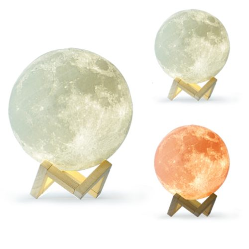 3D Moon Lamp with Wooden Holder