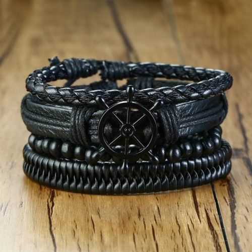 Men's Leather Bracelets Wristbands (4Pcs)