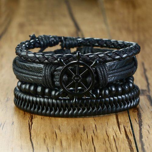 Men's Leather Bracelets Wristbands (4Pcs)