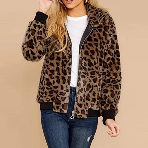 Leopard Print Jacket Warm Coat For Women