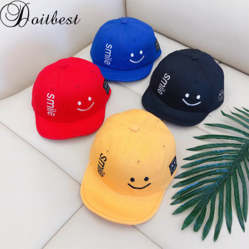 Kids Baseball Caps Smiling Face Design