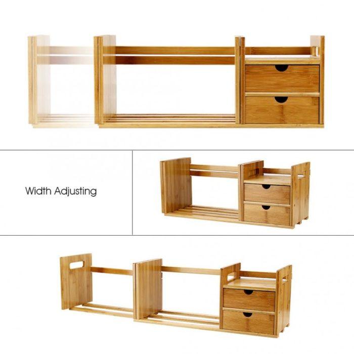 Desktop Bookshelf Wooden Extendable