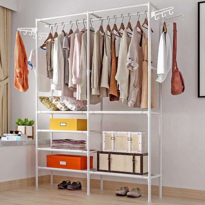 Standing Clothes Rack Storage Organizer