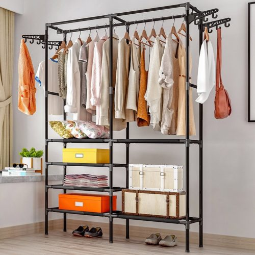Standing Clothes Rack Storage Organizer