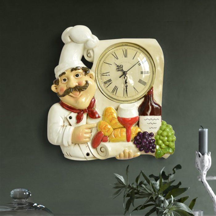 Vintage Wall Clock Chef Design