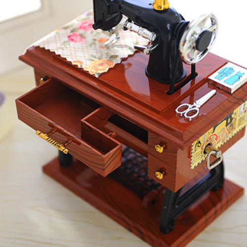 Vintage Music Box Sewing Machine Design