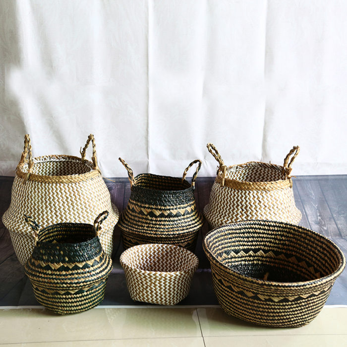 Seagrass Storage Basket Portable Container