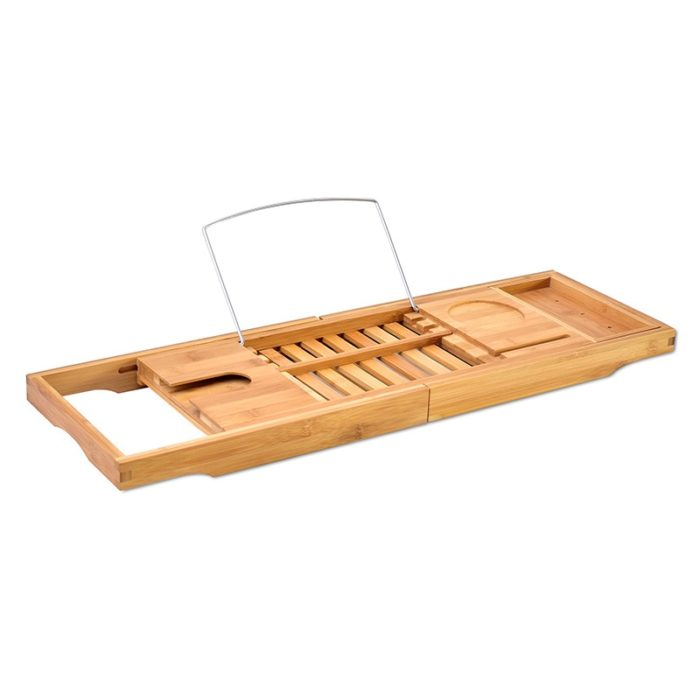 Bamboo Bath Caddy Bathtub Tray Organizer