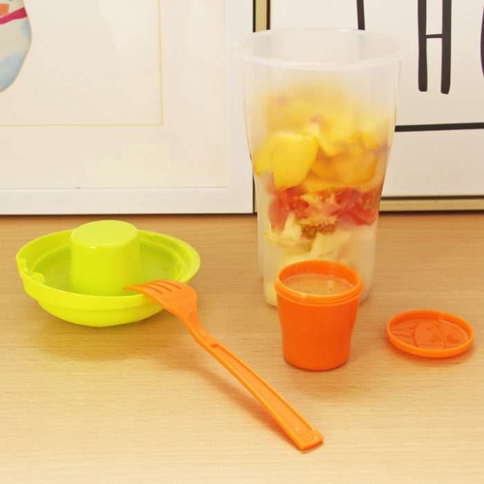 Salad Container with Sauce Container and Fork