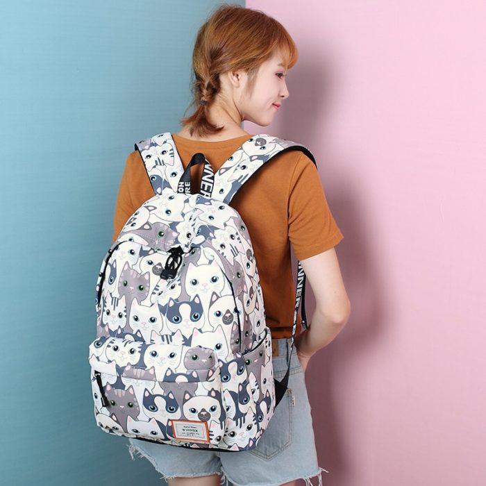 Cute Backpack For Girls Cat Design