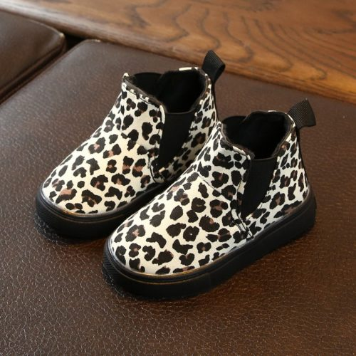 Girls Leopard Boots Ankle Shoes