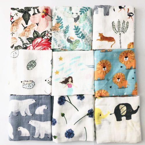 Muslin Swaddle Blanket Organic Bamboo Cotton