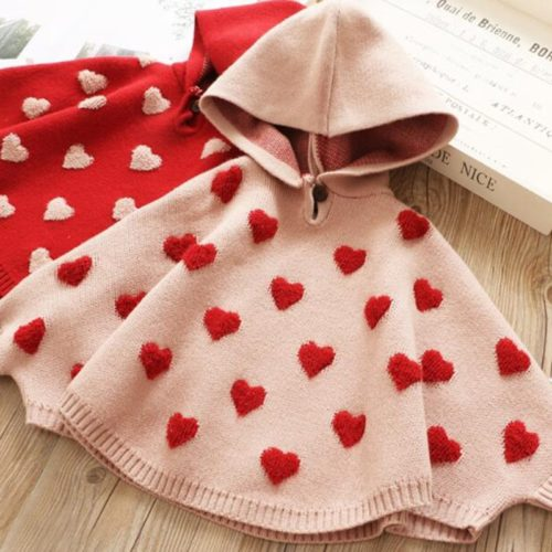 Cute Sweater For Girls Heart Pattern