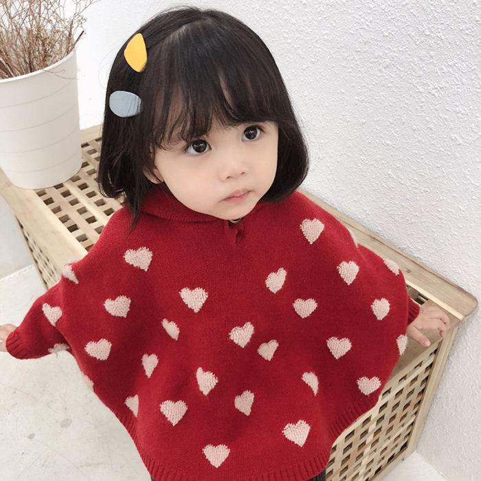 Cute Sweater For Girls Heart Pattern
