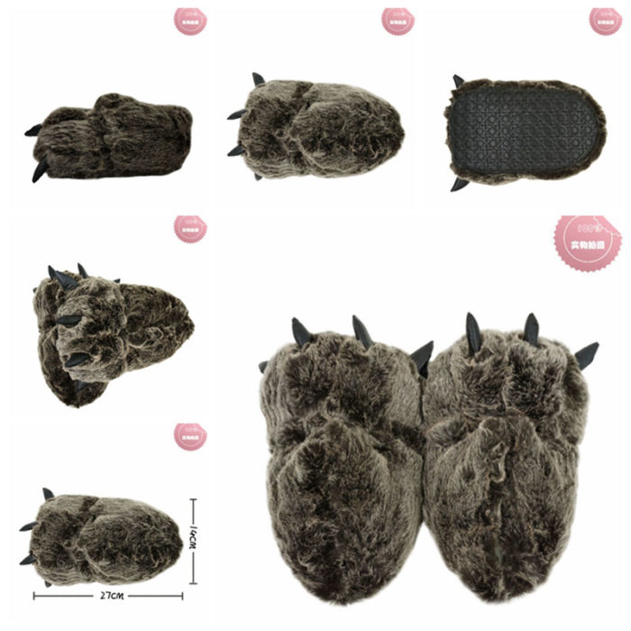 Bear Claw Slippers Plush Footwear