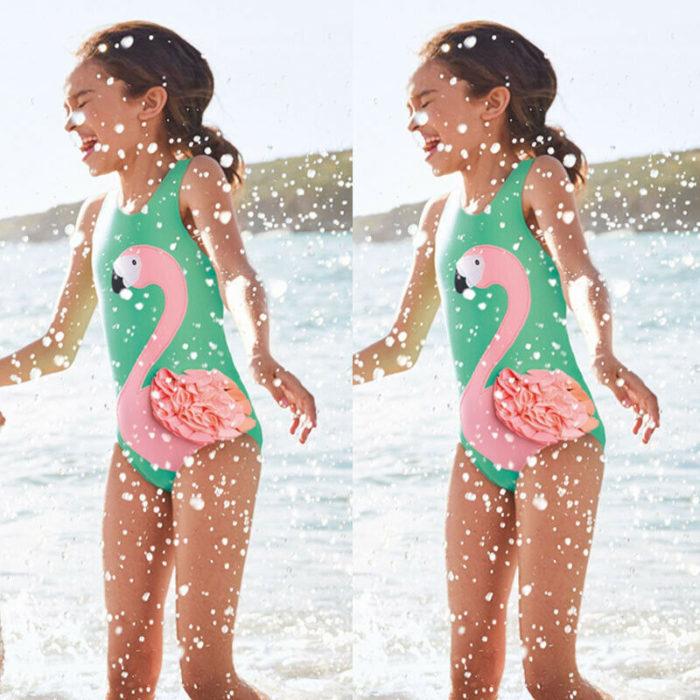 Baby Girl Swimsuit Flamingo Print