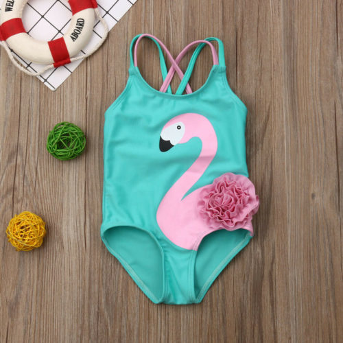 Baby Girl Swimsuit Flamingo Print