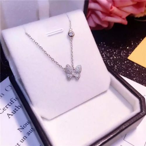 Silver Butterfly Necklace Fashion Jewelry