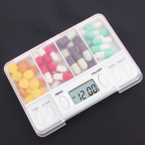 Pill Box with Alarm Four Grid