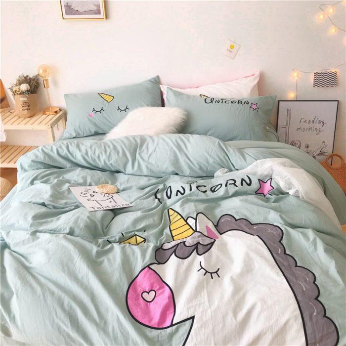 Unicorn Bed Set Cartoon Bedding
