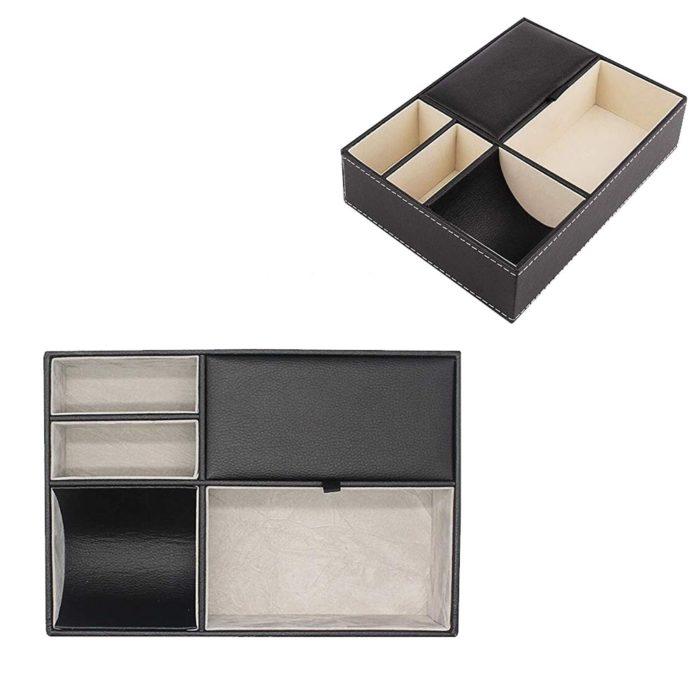 Nightstand Organizer PU Leather Box