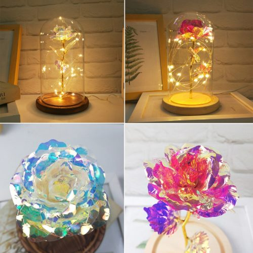 Glass Rose Artificial Flower Decoration