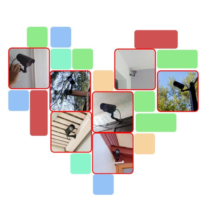 Fake CCTV Cameras with LED Light (4pcs)