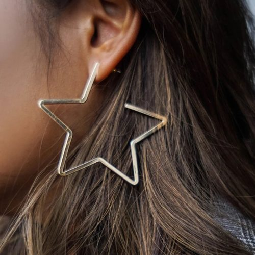 Star Hoop Earrings Fashion Accessory