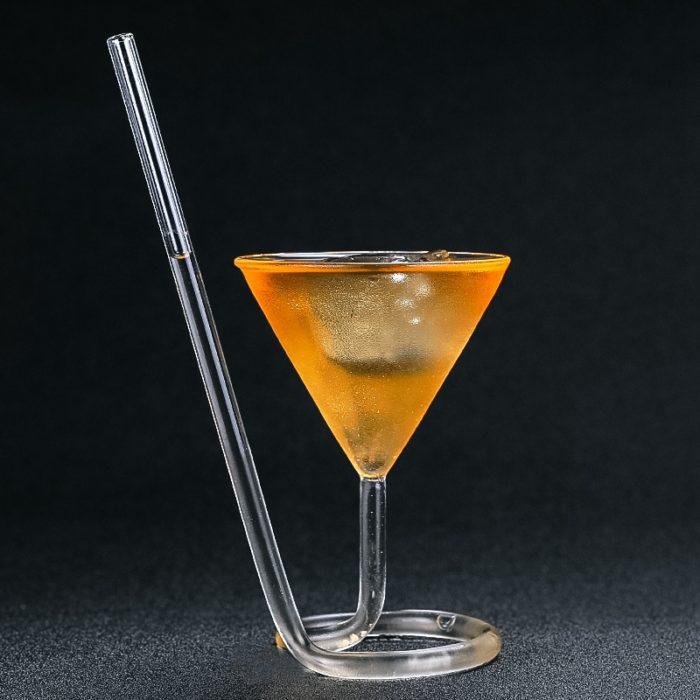 Cocktail Glass Elegant Spiral Straw