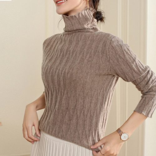 Knitted Sweater For Ladies Turtleneck Pullover