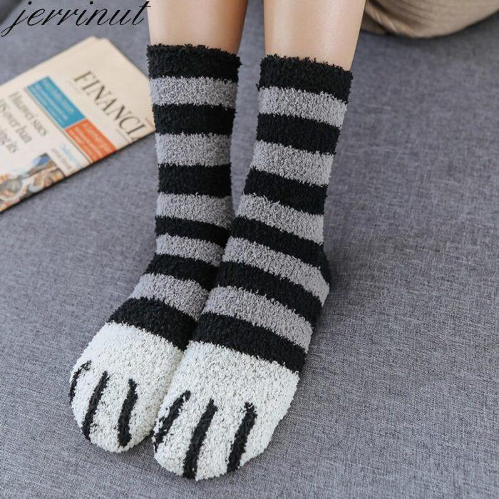 Cute Fuzzy Socks Cat Claw Designs