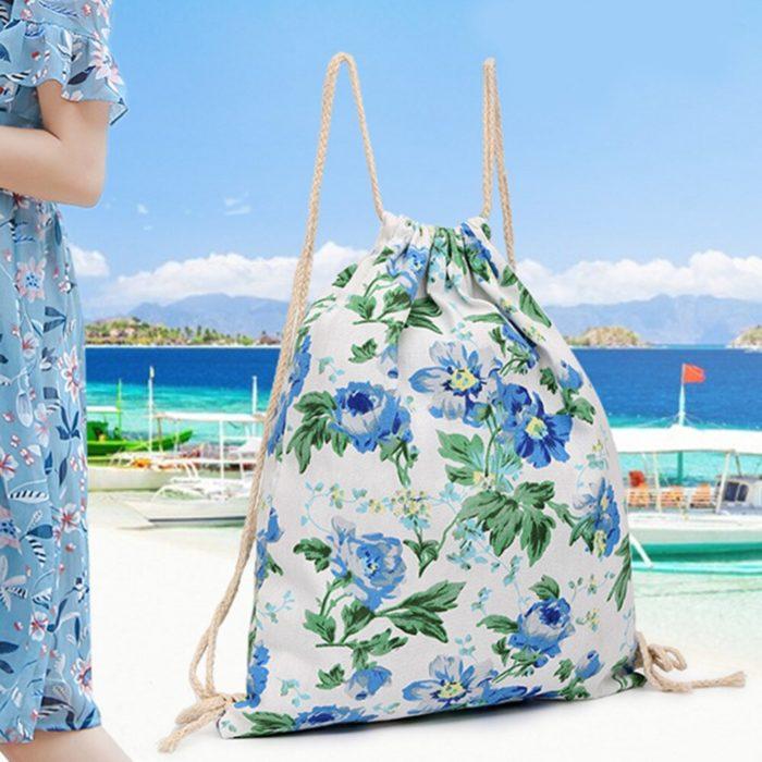 String Backpack Floral Print