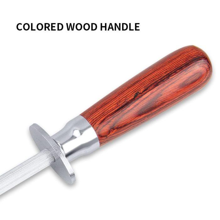 Knife Sharpener Rod Wooden Handle